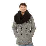 Handsome man in scarf and coat Stock Photo
