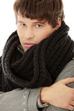 Handsome man in scarf and coat Royalty Free Stock Photography