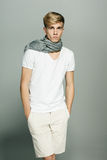 Handsome man in scarf on neck Royalty Free Stock Images