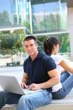 Handsome Man at School Library. Attractive Man and Woman couple at School Library Stock Image