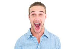 Handsome man screaming out loud Royalty Free Stock Photo