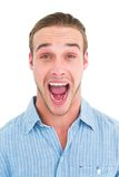 Handsome man screaming out loud Royalty Free Stock Image