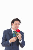 Handsome man seducer in a business suit with weird geeky face ex Royalty Free Stock Image