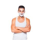 Handsome man with shaving cream Stock Photo
