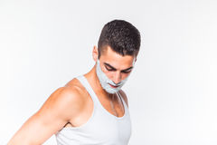 Handsome man with shaving cream Royalty Free Stock Photo