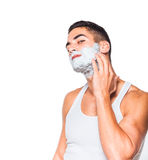 Handsome man with shaving cream Royalty Free Stock Photos