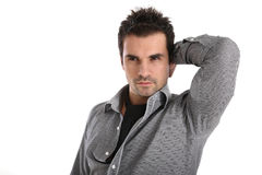 Handsome man in shirt and scarf. Handsome man in shirt and black scarf Royalty Free Stock Photography