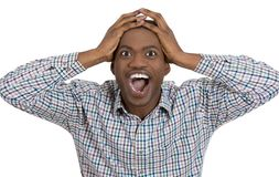 Handsome man shocked with hand on head Royalty Free Stock Images