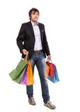 Handsome man with shopping bags Royalty Free Stock Images