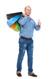 Handsome man with shopping bags Royalty Free Stock Photo