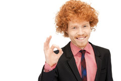 Handsome man showing ok sign Stock Photography