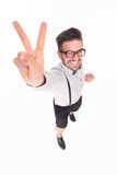 Handsome man showing okay sign in studio Royalty Free Stock Photo