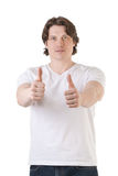 Handsome man showing thumbs up Royalty Free Stock Images