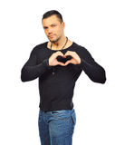Handsome man shows heart with their hands. Isolated Royalty Free Stock Images