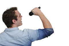 Handsome Man Singer. Performing at a concert Stock Photo