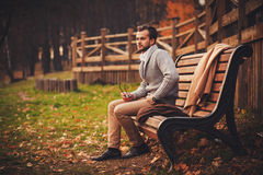 Handsome man sitting in bench Stock Photography