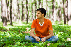 Handsome man sitting cross-legged in the woods Stock Photography