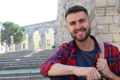 Handsome man smiling in Europe Royalty Free Stock Photos