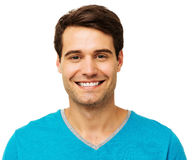 Handsome Man Smiling Over White Background Royalty Free Stock Photos