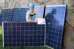 Handsome Man and Solar Panels Royalty Free Stock Photography