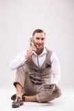 Handsome man speak phone royalty free stock image