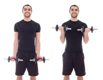 Handsome man in sportswear doing exercises with dumbbells isolat Royalty Free Stock Photo