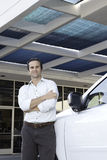 Handsome Man Standing Besides Car With Arms Crossed Royalty Free Stock Photography