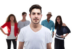 Handsome Man Standing In Front Of His Friends Stock Photos