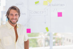 Handsome man standing in front of whiteboard Royalty Free Stock Photography