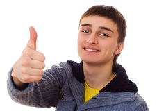 Handsome man standing and smiling on white Stock Photos
