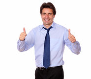 Handsome man standing with thumbs up Royalty Free Stock Photos