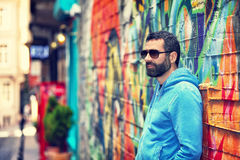 Handsome man on the street Royalty Free Stock Images