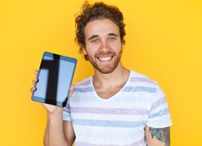 Man showing tablet Stock Image