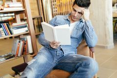 Handsome man studying royalty free stock images