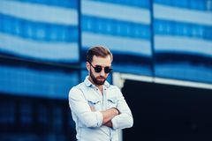 Handsome man in stylish clothes Stock Image