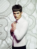 Handsome man with stylish haircut Royalty Free Stock Image