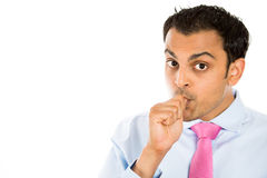 Handsome man sucking his thumb Royalty Free Stock Photography