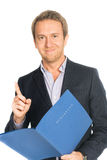 Handsome man in suit folder holding folder with job application Stock Photos