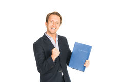 Handsome man in suit folder holding folder with job application. Isolated stock images