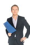 Handsome man in suit folder holding folder with job application Royalty Free Stock Images