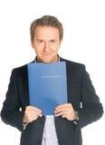 Handsome man in suit folder holding folder with job application Stock Images
