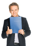 Handsome man in suit folder holding folder with job application Royalty Free Stock Photos