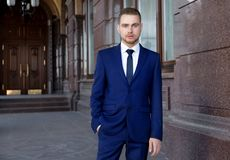 Handsome man in suit. Outdoors Royalty Free Stock Photos