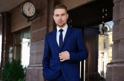 Handsome man in suit. Outdoors Stock Image