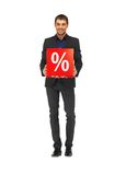 Handsome man in suit with percent sign Royalty Free Stock Photography