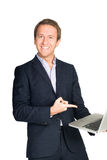 Handsome man in suit  very happy with laptop Royalty Free Stock Images
