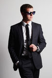Handsome Man in suit.young businessman in sunglasses Stock Photos