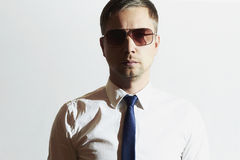 Handsome man in sunglasses. Secret Agent. Young man in tie Royalty Free Stock Photography