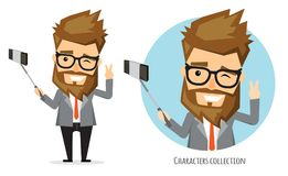 Handsome man takes a video of himself royalty free illustration