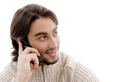 Handsome man talking on cell phone Royalty Free Stock Photography